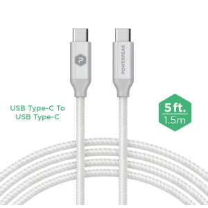 PowerPeak 5ft. Braided Nylon Type-C to Type-C, Sync & Power Cable - White/Silver