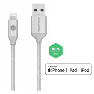 PowerPeak Extra-long Premium Braided Lightning Cable 10 FT. Metallic USB Charge & Sync Cable - Silver