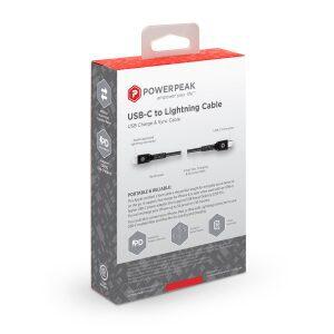 PowerPeak 6ft. Braided Nylon USB-C to Lightning Cable - Black