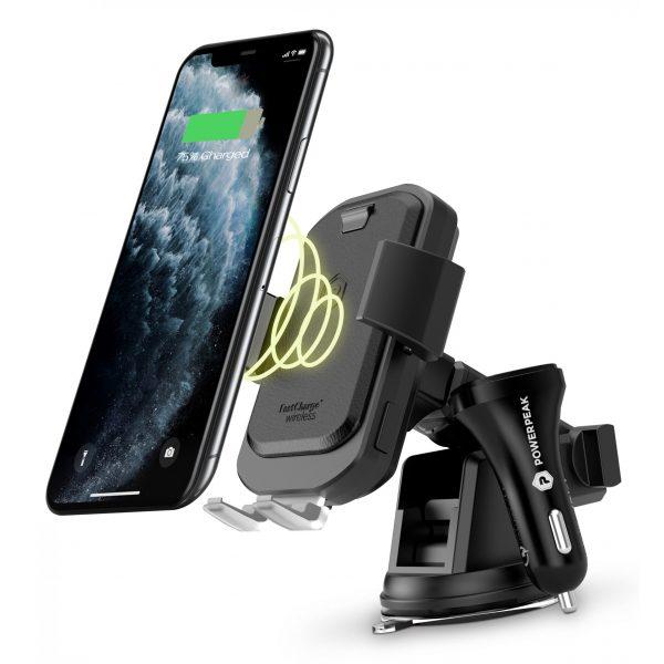 PowerPeak Wireless Fast Charging Auto Clamping Car Windshield Dashboard & Air Vent Phone Holder - Black