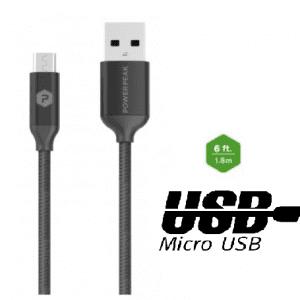 PowerPeak 6ft. Braided Nylon Metallic Micro USB Charge & Sync Cable - Black