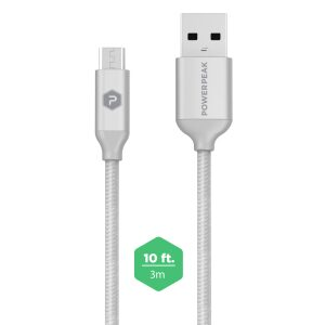 PowerPeak 10ft. Braided Nylon Metallic Micro USB Charge & Sync Cable - Silver