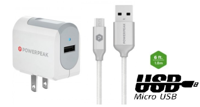 PowerPeak Micro USB Rapid Wall Charger with Braided  Charge & Sync Cable (2.4 Amp)