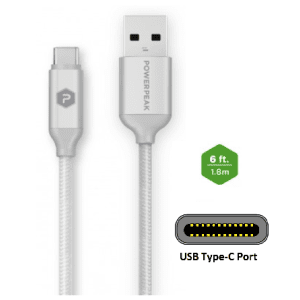 PowerPeak 6ft. Braided Nylon USB-A to USB Type-C Charge & Sync Cable - White/Silver