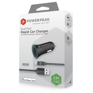 PowerPeak Dual Port Rapid Car Charger With Braided Lightning Charge & Sync Cable - Black (3.4 Amps)