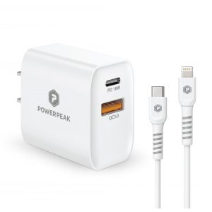 PowerPeak Dual Port PD Fast Charge Wall Charger with USB-C to Lightning Charge {SPEED X2 18W}