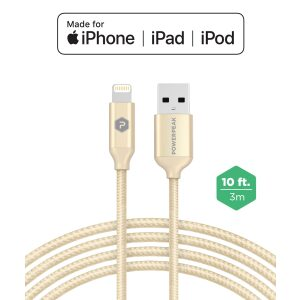 PowerPeak Extra-long Premium Braided Lightning Cable 10 FT. Metallic USB Charge & Sync Cable - Gold