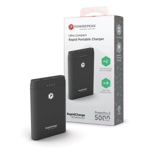 PowerPeak 5000mAh Portable charger {2 USB Charging Ports} - Black