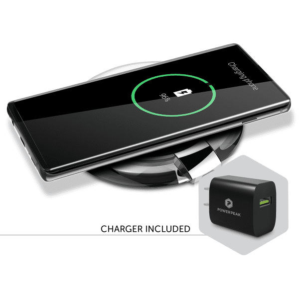 PowerPeak Adaptive Fast Charge Wireless Charging Pad for Qi Compatible Devices includes Fast Charge adapter (1.4X Faster)