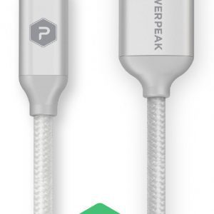 PowerPeak 10ft. Braided Nylon USB-A to USB Type-C Charge & Sync Cable - Silver