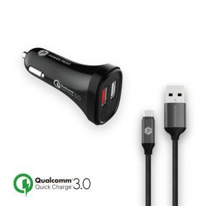 PowerPeak Quick Charge 3.0 Type-C Car Charger with 4ft. braided Cable - Black