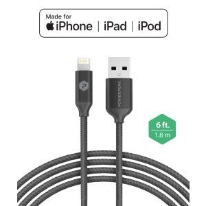 PowerPeak 6ft. Braided Nylon Metallic Lightning USB Charge & Sync Cable - Black