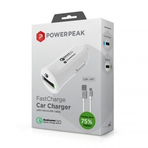 PowerPeak Adaptive Fast Charge™ 2.0 Car Charger with 4ft MicroUSB Cable (75% Faster)