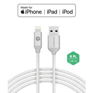 PowerPeak 6ft. Braided Nylon Metallic Lightning USB Charge & Sync Cable - White/Silver