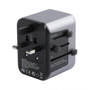 Powerpeak International Power Adapter, 1 USB Type C 18W PD Plug - 1 USB Port Wall Charger USB Type A  {150 Countries}  - All in One
