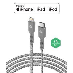 PowerPeak 3ft. Braided Nylon USB-C to Lightning Cable - Silver