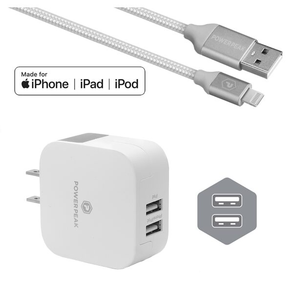 PowerPeak iPhone Dual Port Rapid Wall Charger WIth Lightning Cable