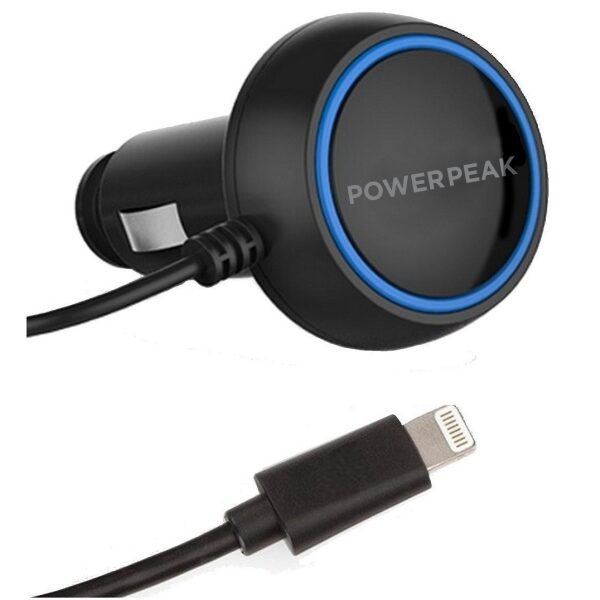 PowerPeak Car Charger includes built-in lightning cable (2.4 Amps)