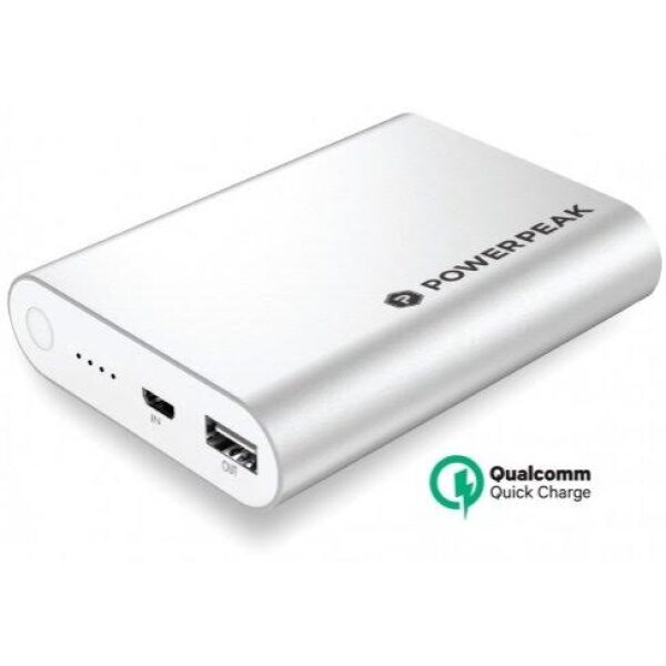 PowerPeak Portable Battery  Pack with Qualcomm Adaptive Fast Charge Technology (10400 mAH 75% Faster) - Silver