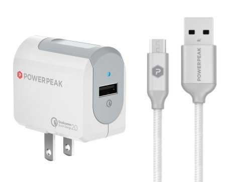 PowerPeak Micro USB Adaptive  Fast Charge Wall Charger with braided cable - white (Qualcomm 2.0 certified 75% Faster)