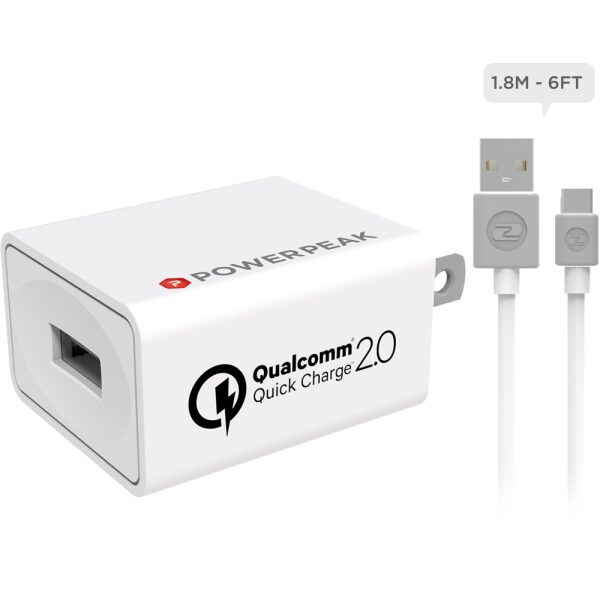 PowerPeak Quick Charge 2.0 Compact Wall Charger with 6ft Micro USB Cable