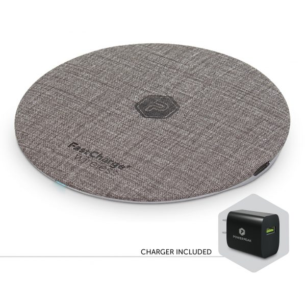PowerPeak 15W Fast Charge Wireless Charging Pad - Fast Charge adapter included