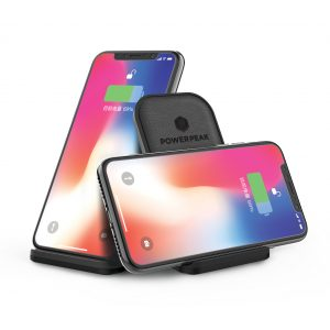 PowerPeak FastCharge Aluminum Wireless Charging Stand - includes Fast Charge adapter (1.4X Faster)