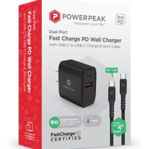PowerPeak 18W Type C PD Wall charger - BLACK