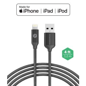 PowerPeak iPhone Dual Port Rapid Car Charger with Braided Lightning Charge & Sync Cable - BLACK (3.4 AMPS)