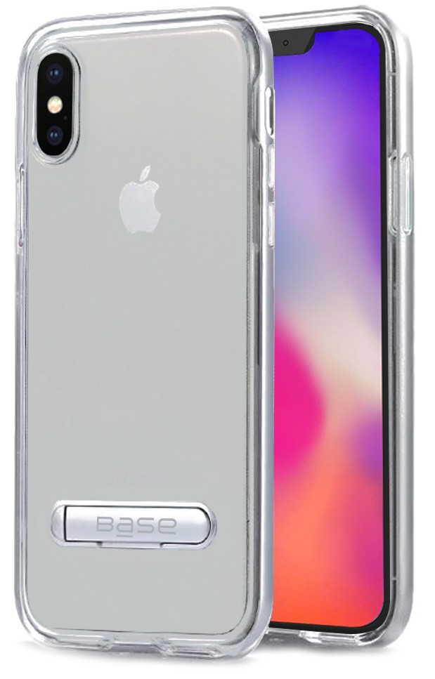 Base DuoHybrid - Reinforced Protective Case w/ Aluminum Kickstand for iPhone X Max - Clear/Silver
