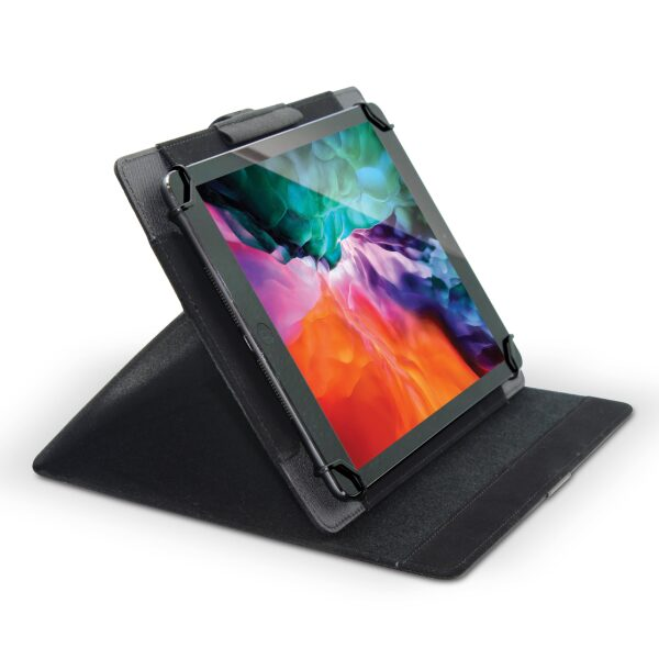 "Base - Folio Universal Tablet Stand Case Protective Cover for 8.5"" 11"" Touchscreen Tablet, with Adjustable Fixing Band and Multiple Viewing Angles – Black"