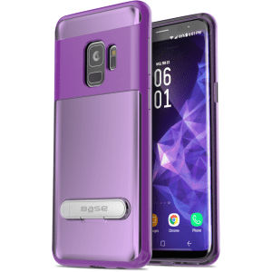 Base DuoHybrid - Reinforced  Protective Case w/ Kickstand for Galaxy S9 Plus - Clear/Purple