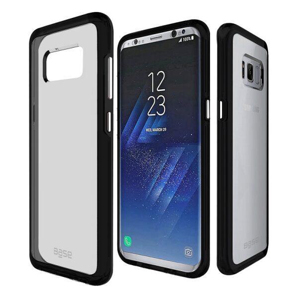 Base Crystal Shield - Reinforced Bumper Protective Case for Samsung S8 Plus - Black/Smoke