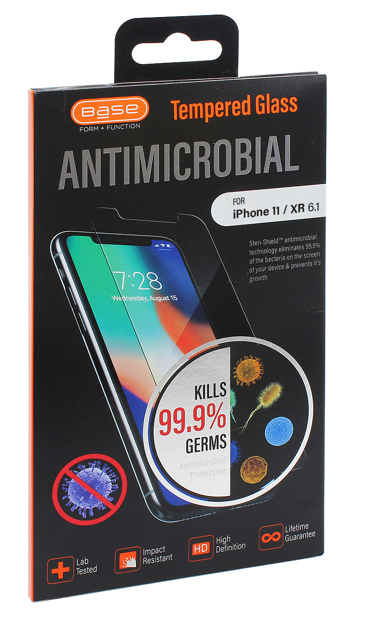 Base Premium Tempered Glass Screen Protector for iPhone XR / 11 {6.1} with anti-microbial