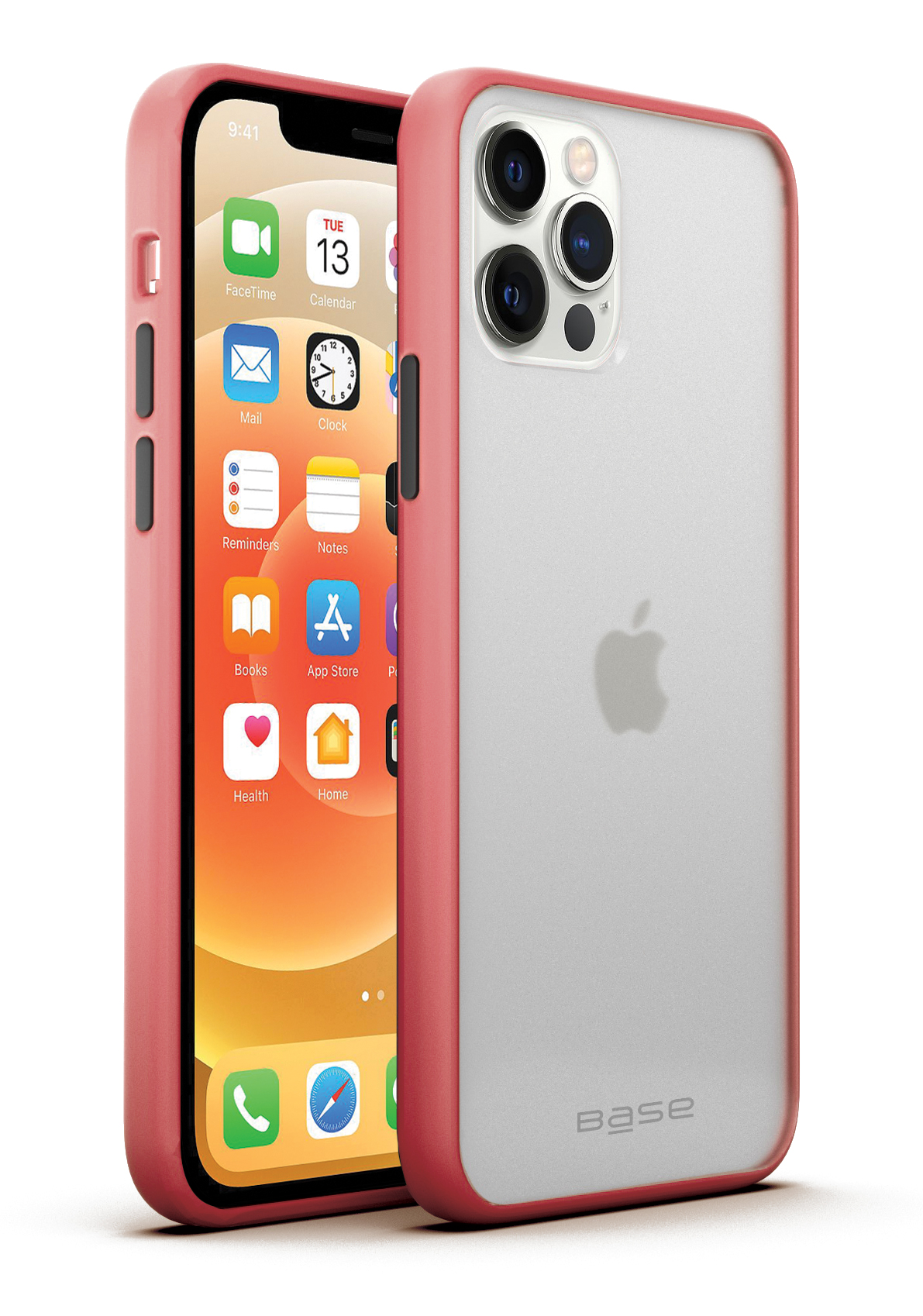 Base iPhone 12 / iPhone 12 Pro (6.1) - DuoHybrid Reinforced  Protective Case  - Clear/Coral