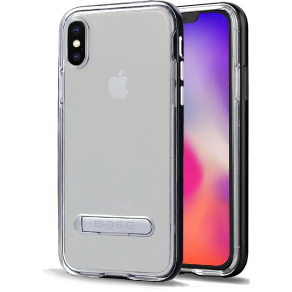 Base DuoHybrid - Reinforced Protective Case w/ Aluminum Kickstand for iPhone X Max - Clear/Black