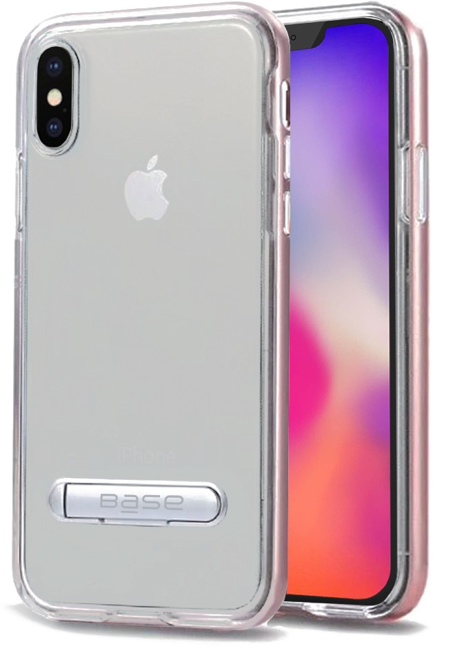 Base DuoHybrid - Reinforced Protective Case w/ Aluminum Kickstand for iPhone X Max - Clear/Rose