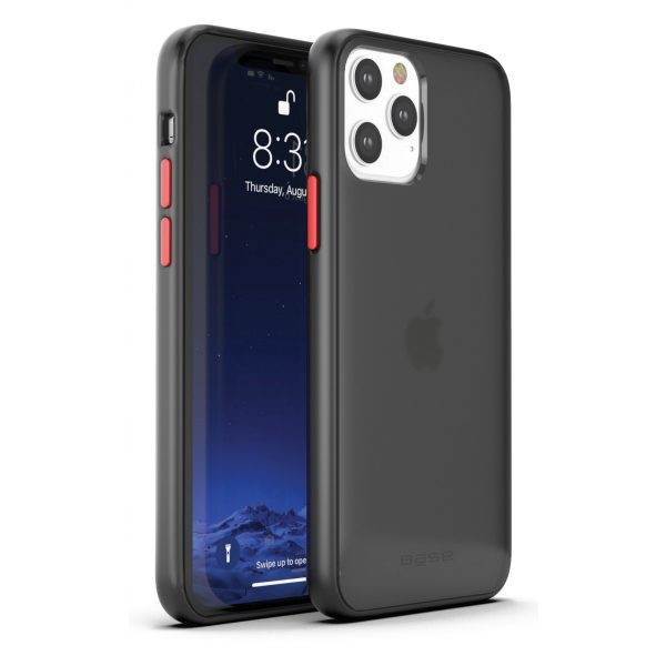 Base iPhone 12 / iPhone 12 Pro (6.1) - DuoHybrid Reinforced Protective Case  - Clear/Black