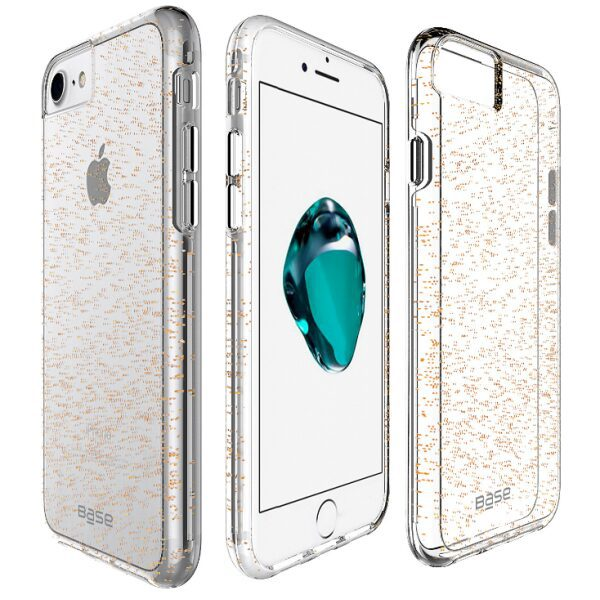 Base Crystal Shield - Reinforced Bumper Protective Case for iPhone 6/7/8 Plus - Gold Glitter