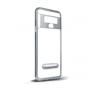 Base DuoHybrid - Reinforced  Protective Case w/ Kickstand for Samsung Note9 - Clear/Silver