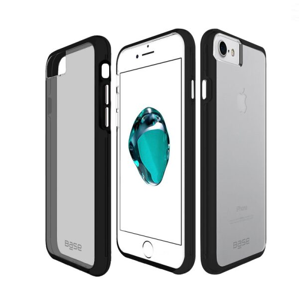 Base Crystal Shield - Reinforced Bumper Protective Case for iPhone 6/7/8 Plus - Black/Smoke