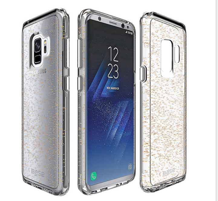 Base Crystal Shield - Reinforced Bumper Protective Case for Samsung S9 Plus - Gold Glitter