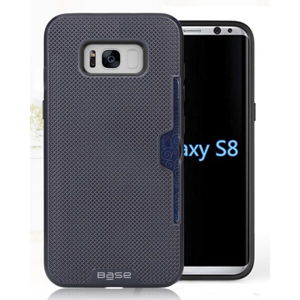 Base DuraFit Stowaway - Dual Layer Protective Credit Card Case for Samsung Galaxy S8 - Navy Blue