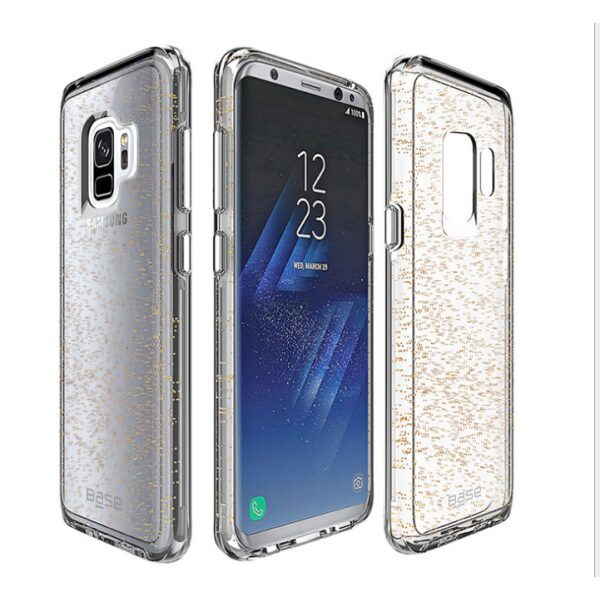 Base Crystal Shield - Reinforced Bumper Protective Case for Samsung S9 - Gold Glitter