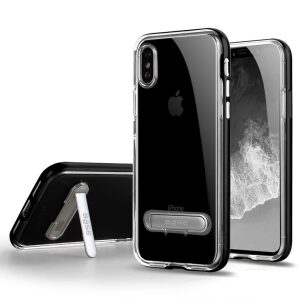 Base DuoHybrid - Reinforced  Protective Case w/ Kickstand for iPhone X  - Clear/Black