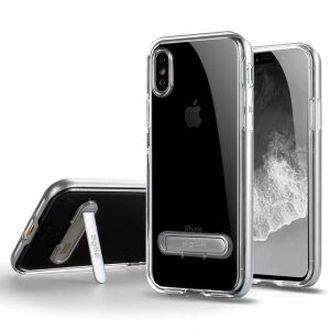 Base DuoHybrid - Reinforced  Protective Case w/ Kickstand for iPhone X  - Clear/Silver