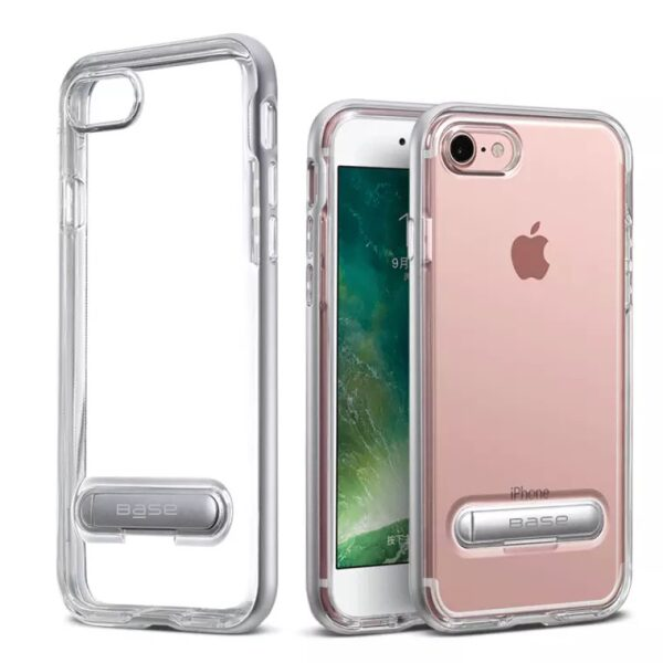 Base DuoHybrid - Reinforced  Protective Case w/ Kickstand for iPhone SE - 7/8 - Clear/Silver