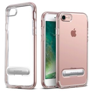 Base DuoHybrid - Reinforced  Protective Case w/ Kickstand for iPhone SE - 7/8 - Clear/Rose Gold