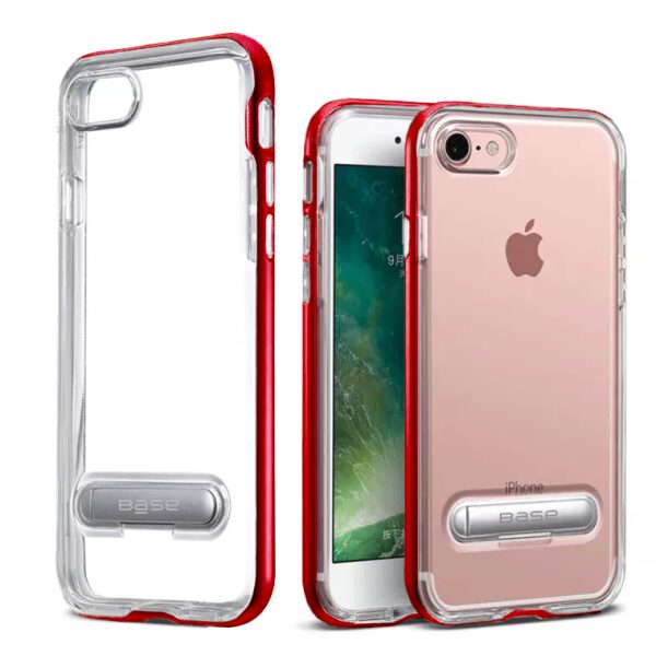 Base DuoHybrid - Reinforced  Protective Case w/ Kickstand for iPhone SE - 7/8 - Clear/Red