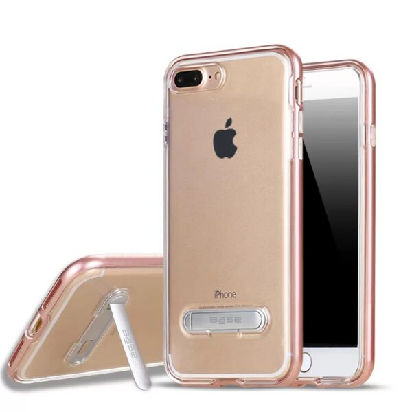 Base DuoHybrid - Reinforced  Protective Case w/ Kickstand for iPhone 7/8 Plus - Clear/Rose Gold